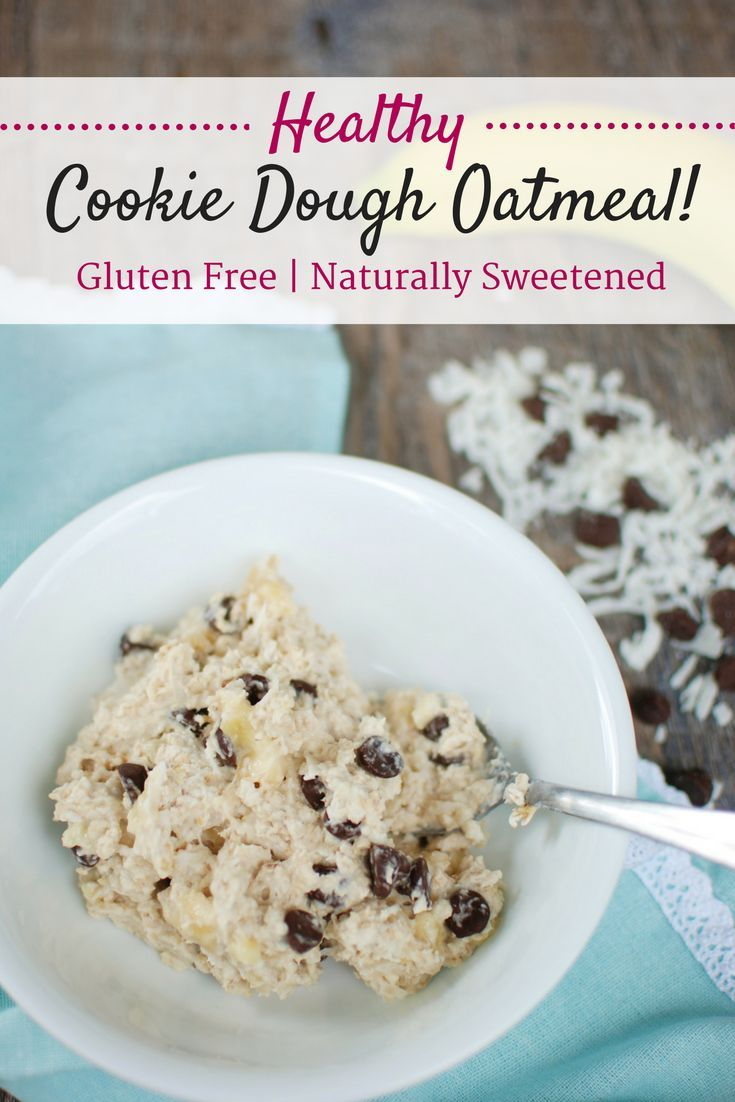Healthy Cookie Dough Oatmeal with Chocolate Chips and Coconut! - Snacking in Sneakers