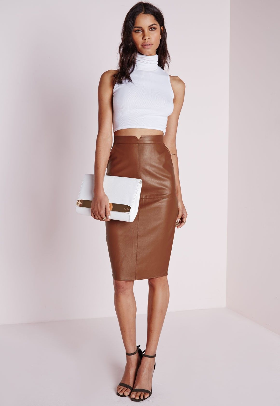 Misguided // Faux Leather Midi Skirt in Tan | aesthetic ...