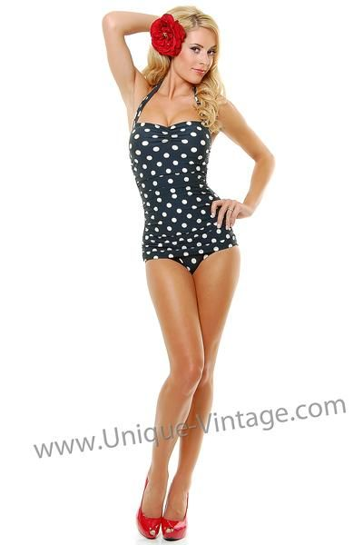 e214088476ec9 I found  Vintage Inspired Swimsuit 50 s Style Pin Up Black Polka Dot Bathing  Suit  on Wish