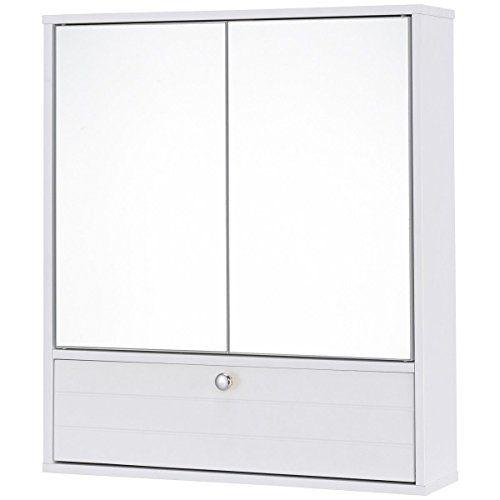 Adjule Double Mirror Door Wall Mount Wooden Storage Cabinet Shelf Organizer Free E Book