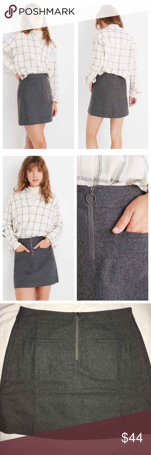 Photo of 🆕 Madewell Fireside Wool Blend Mini Skirt With its retro front zip and flatte…