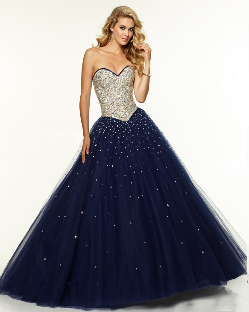 Long Navy Blue Prom Dress Tulle 2016 Sweetheart Ball Gown Prom ...