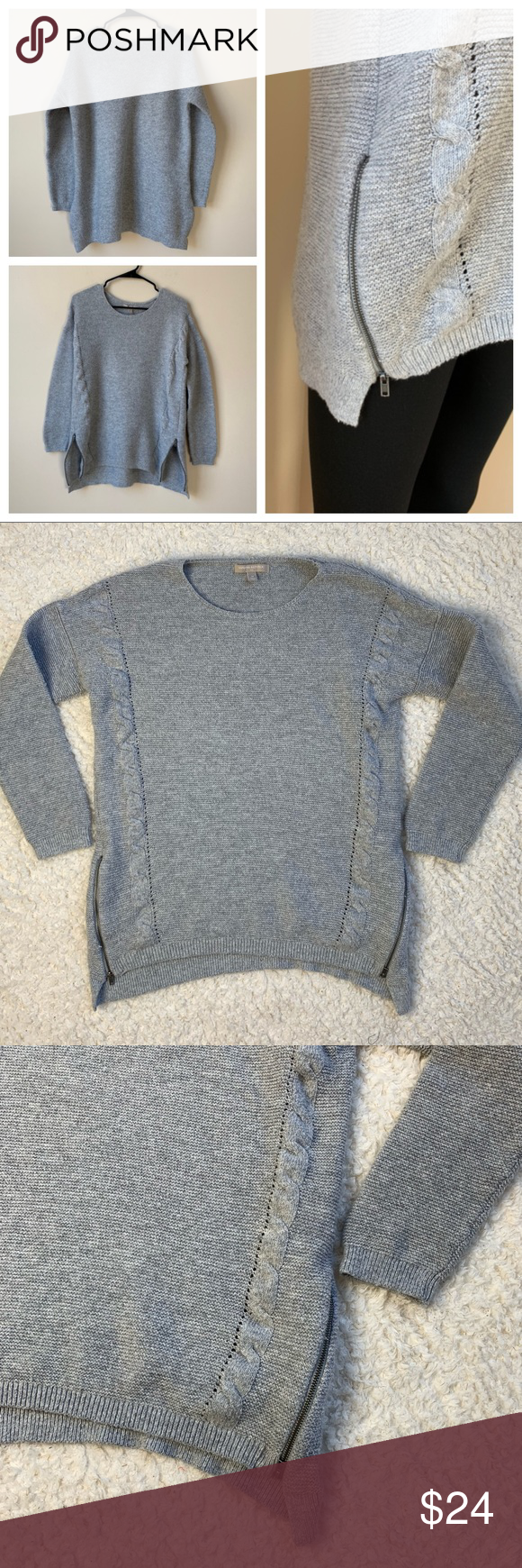 Banana Republic Factory Zipper Side Sweater Gray M (With