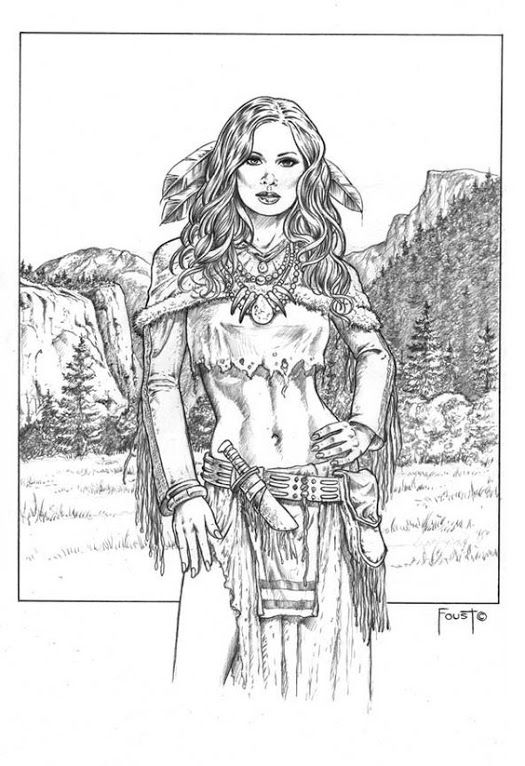 indian and wolf coloring pages - photo#11