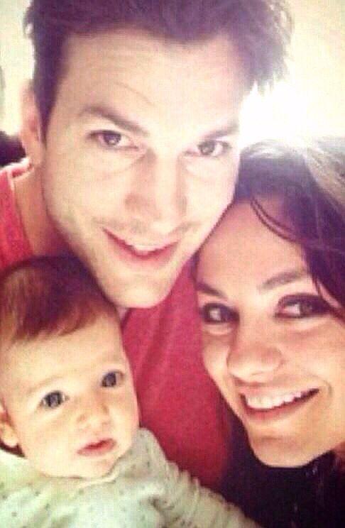 Ashton Kutcher Mila Kunis And Their Little Baby Wyatt Isabelle