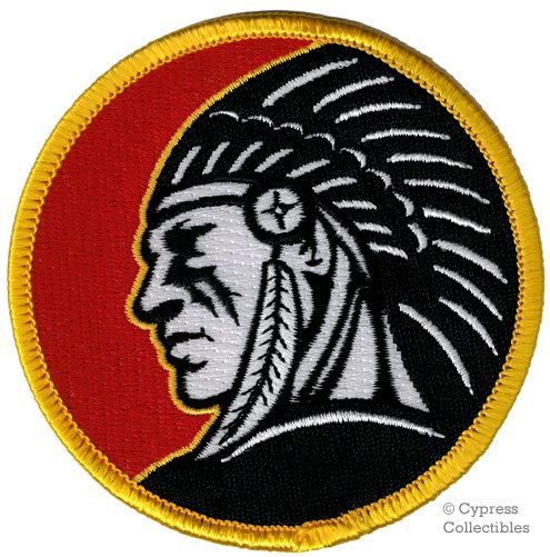 EMBROIDERY SEW ON PATCH INDIAN MOTORCYCLE SCOUT RED DARK GREY BUY 3 GET 1 FREE