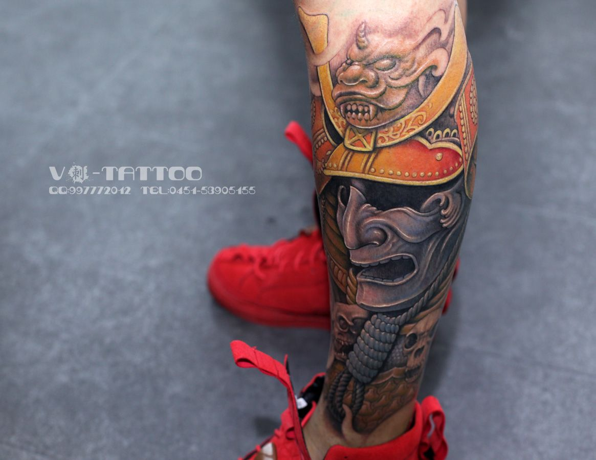 tattoo #art #ink #inked #colored #3d #leg #skull #lion #chinese ...