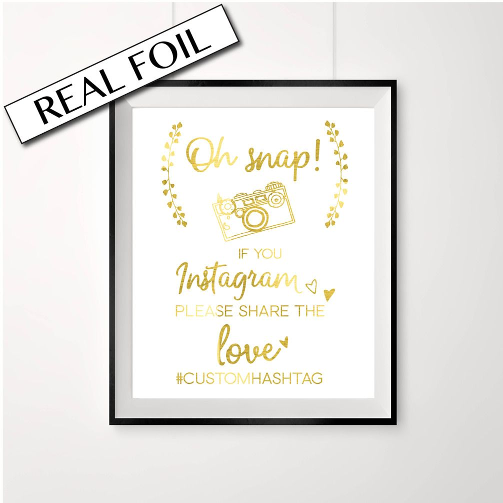 Oh Snap //// Social media sign //// gold print //// Wedding gold //// Camera //// PRETTY
