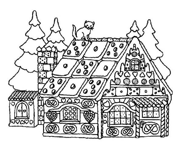 A Yummy House Made Of Candy For Christmas Coloring Page