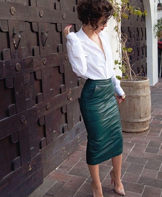 15 idee per una gonna di pelle per il lavoro: consigli di moda