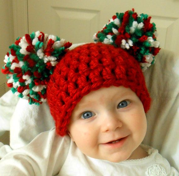 b12de98438608 Baby Girl Christmas Hat Chunky Red Green White Crochet Knit Infant Double Pom  Pom Beanie Photography Prop on Etsy