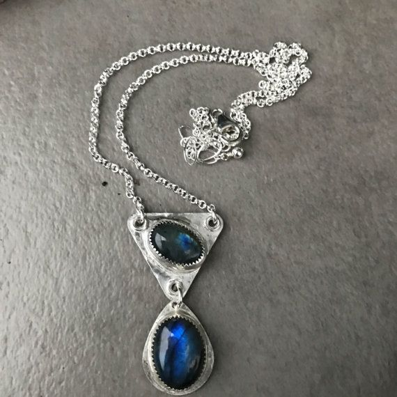 Double Labradorite Pendant Necklace Sterling by LizardiJewelry