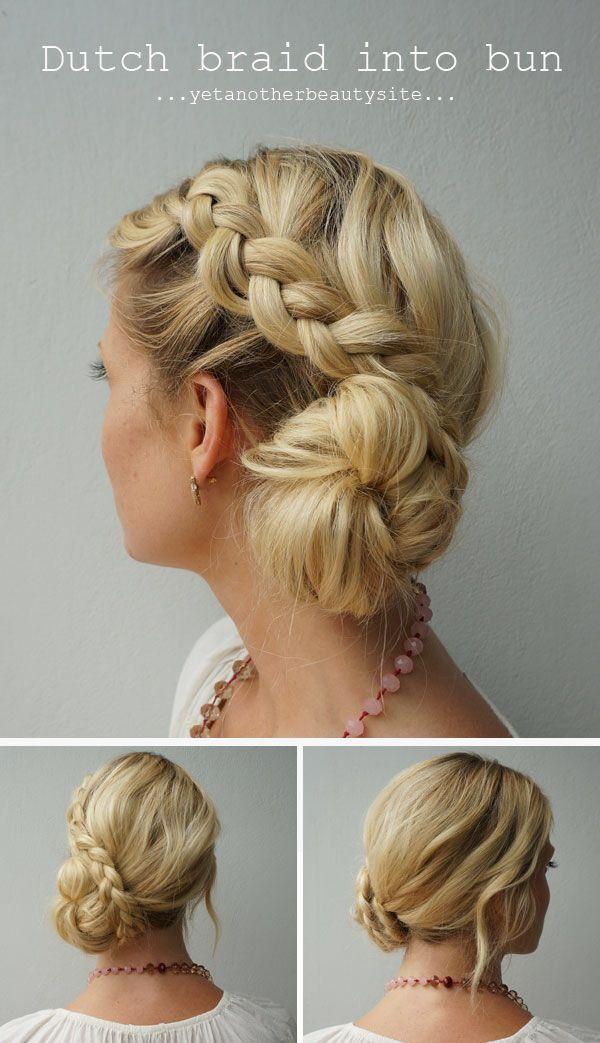 Dutch Braid Into Bun Make A Side Part Braid A Dutch Braid On The Side With The Hair Styles Bridesmaid Hair Hair