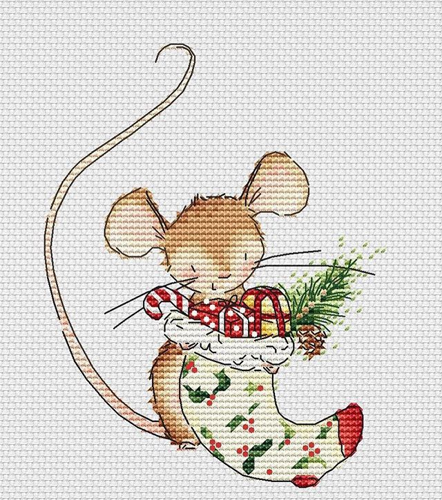 Christmas Mouse Nstitches Pinterest Cross Stitch Stitch
