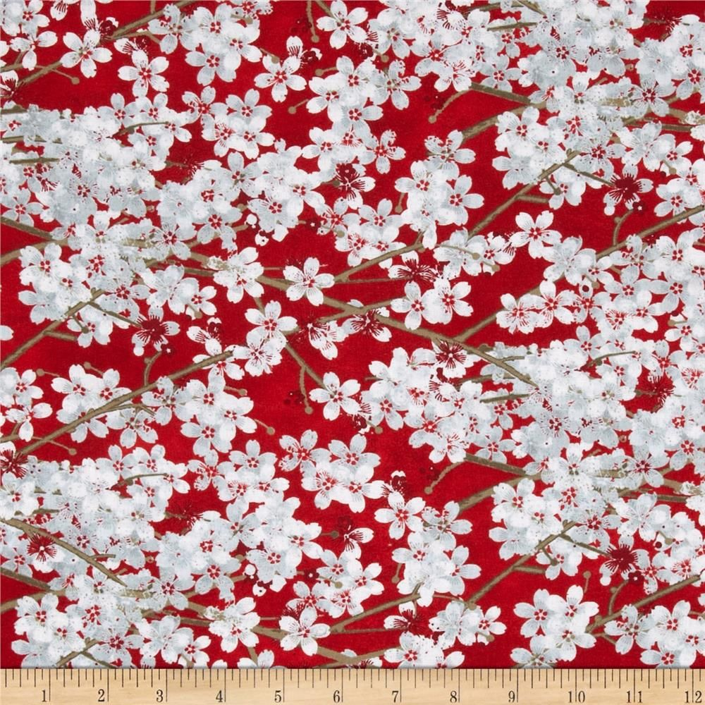 Hanami Falls Packed Cherry Blossoms Red From Fabricdotcom