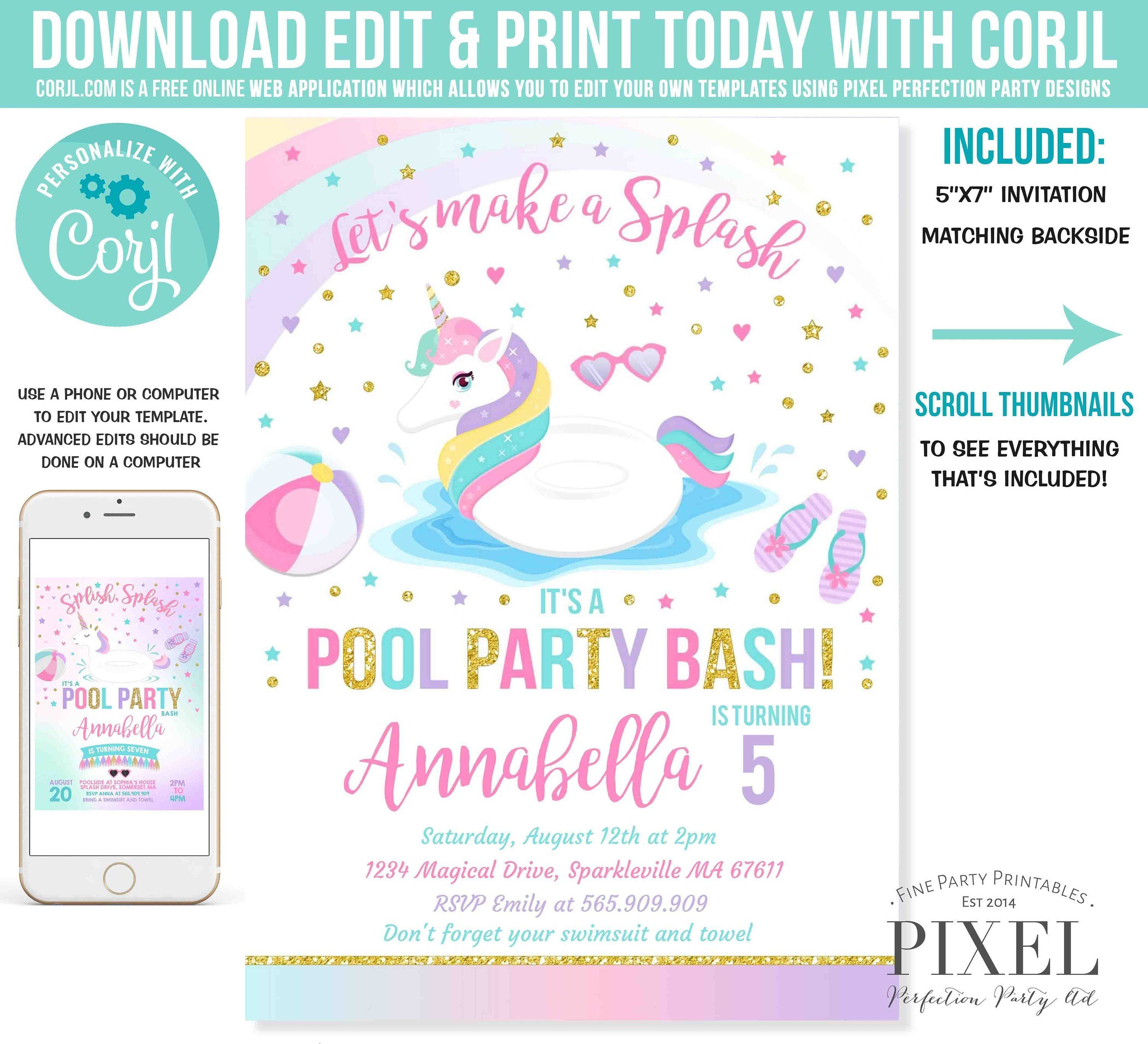 Pool Party Invitation Unicorn Pool Party Invitation Unicorn  Etsy