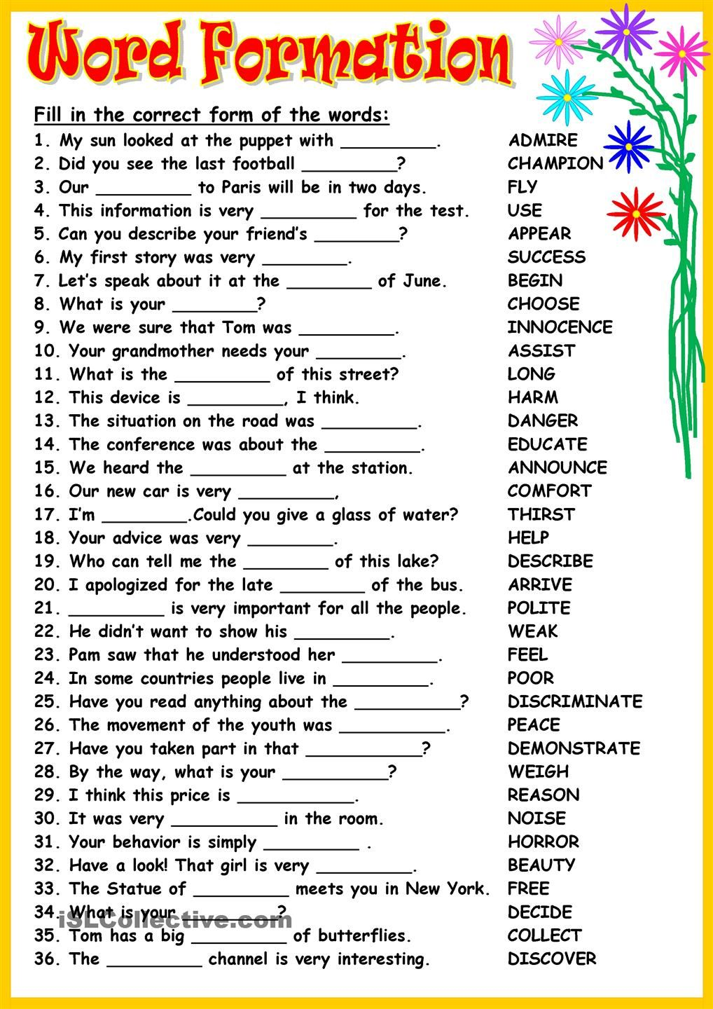 Word Formation Word Formation Direct And Indirect Speech English Grammar Worksheets [ 1440 x 1018 Pixel ]