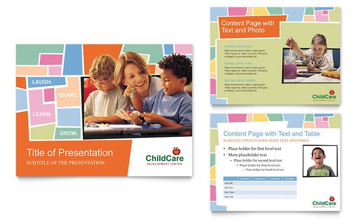 Preschool Kids and Day Care PowerPoint Presentation Template - daycare flyer template