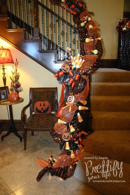 Prettify Your Life - Halloween candy themed staircase garland - frozen halloween decorations