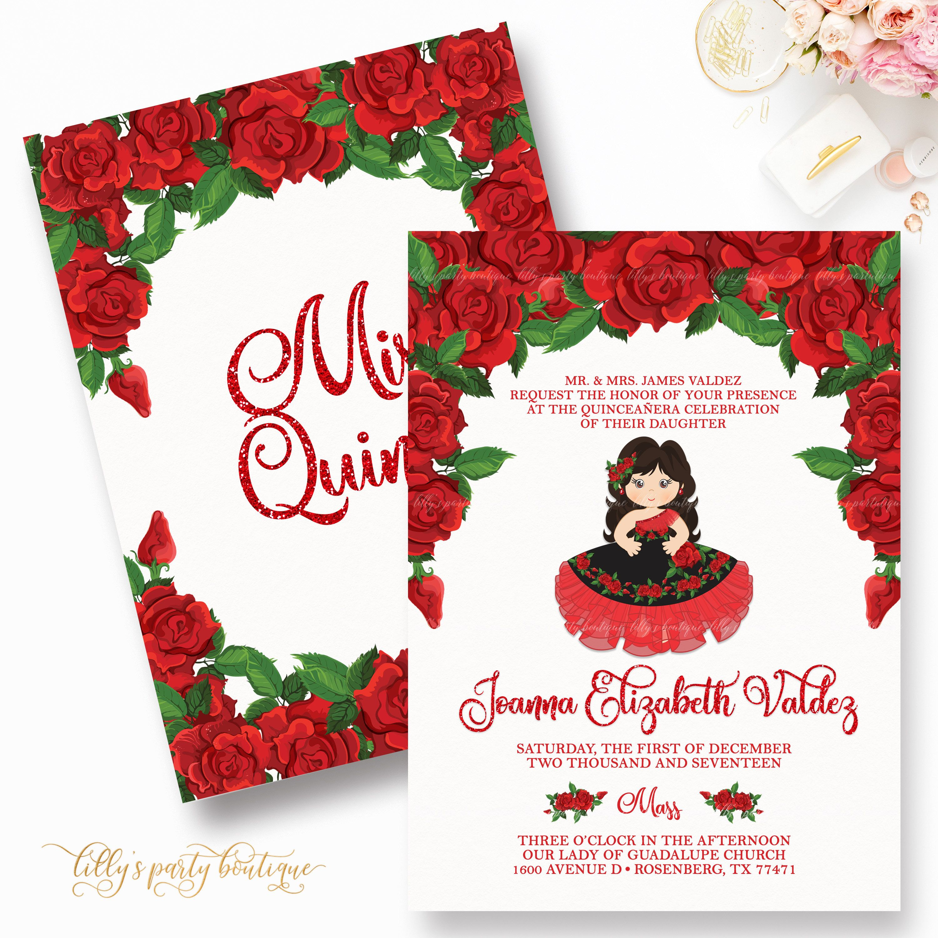 Quinceañera Invitation, Red Quince Invite, Rose Quinceañera ...