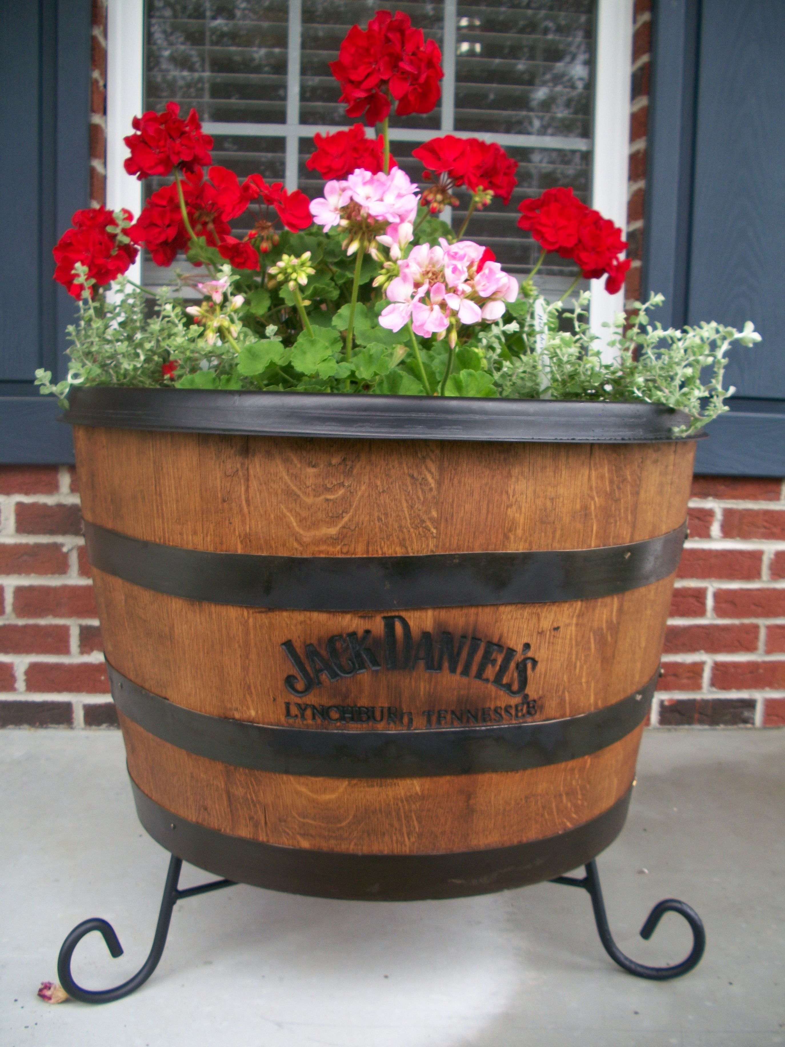 Our Jack Daniels whisky barrel planter! | gardening | Pinterest ...