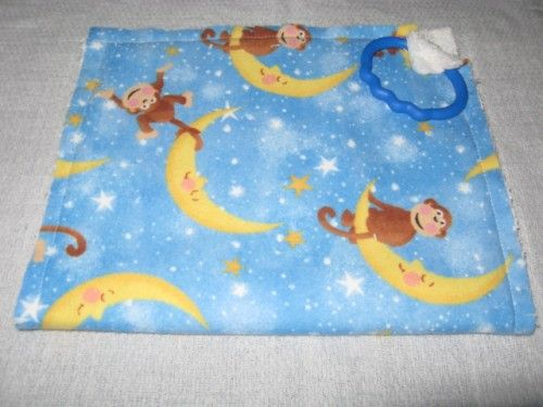 Monkeys Yellow Moon Stars Blue Flannel Baby fringe Rag Burp Cloth | KallieJosCottonPatch - Children's on ArtFire