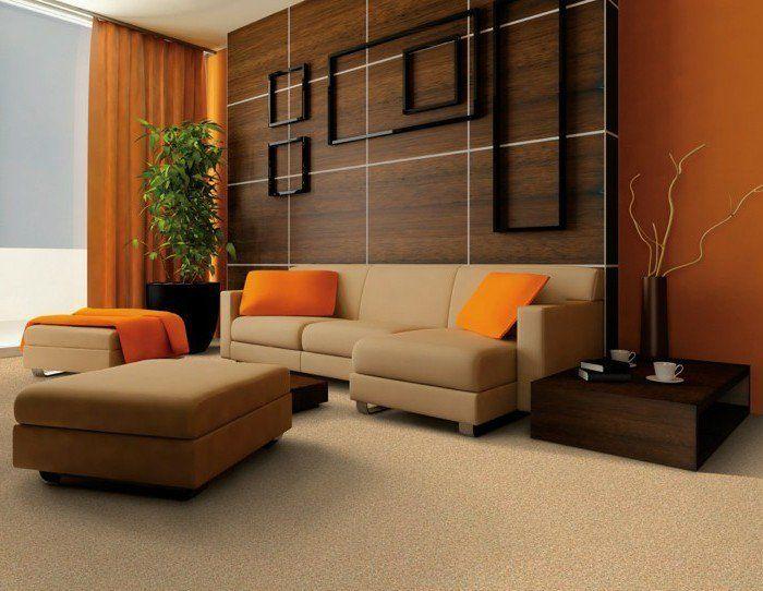 braune wandgestaltung braun zu orange Wandgestaltung Ideen - wandgestaltung braun