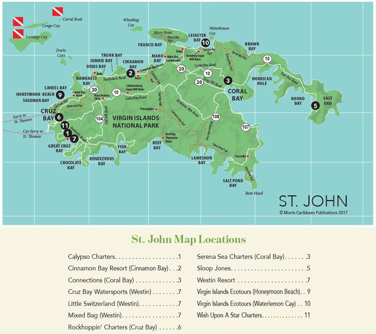 Driving Map of St. John in the U.S. Virgin Islands | Virgin ...