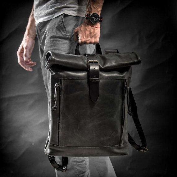 67fb5e75752f Leather backpack Roll top backpack by Kruk Garage Black leatherr ...
