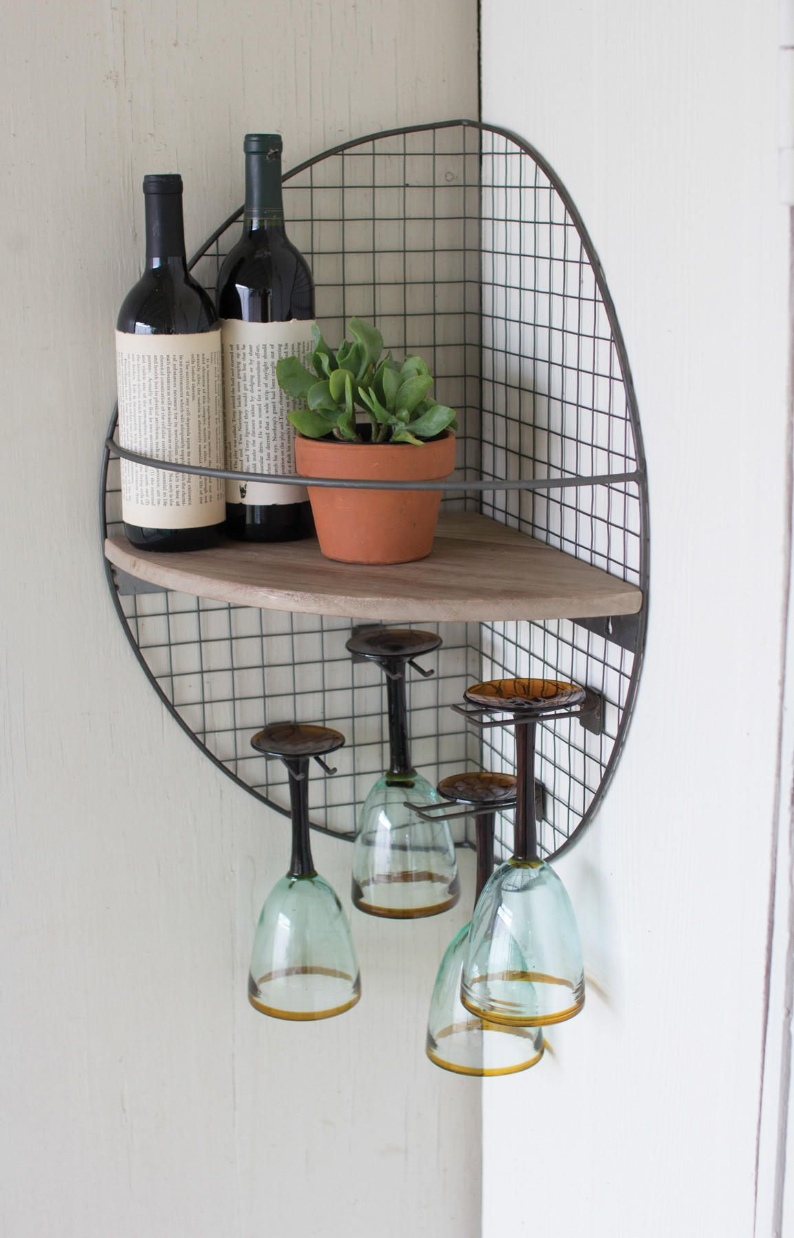 Wire And Wood Wall Corner Shelf From Les Spectacles French