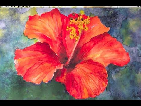 Easy step by step tutorial how to paint hibiscus flower for Easy watercolor tutorial