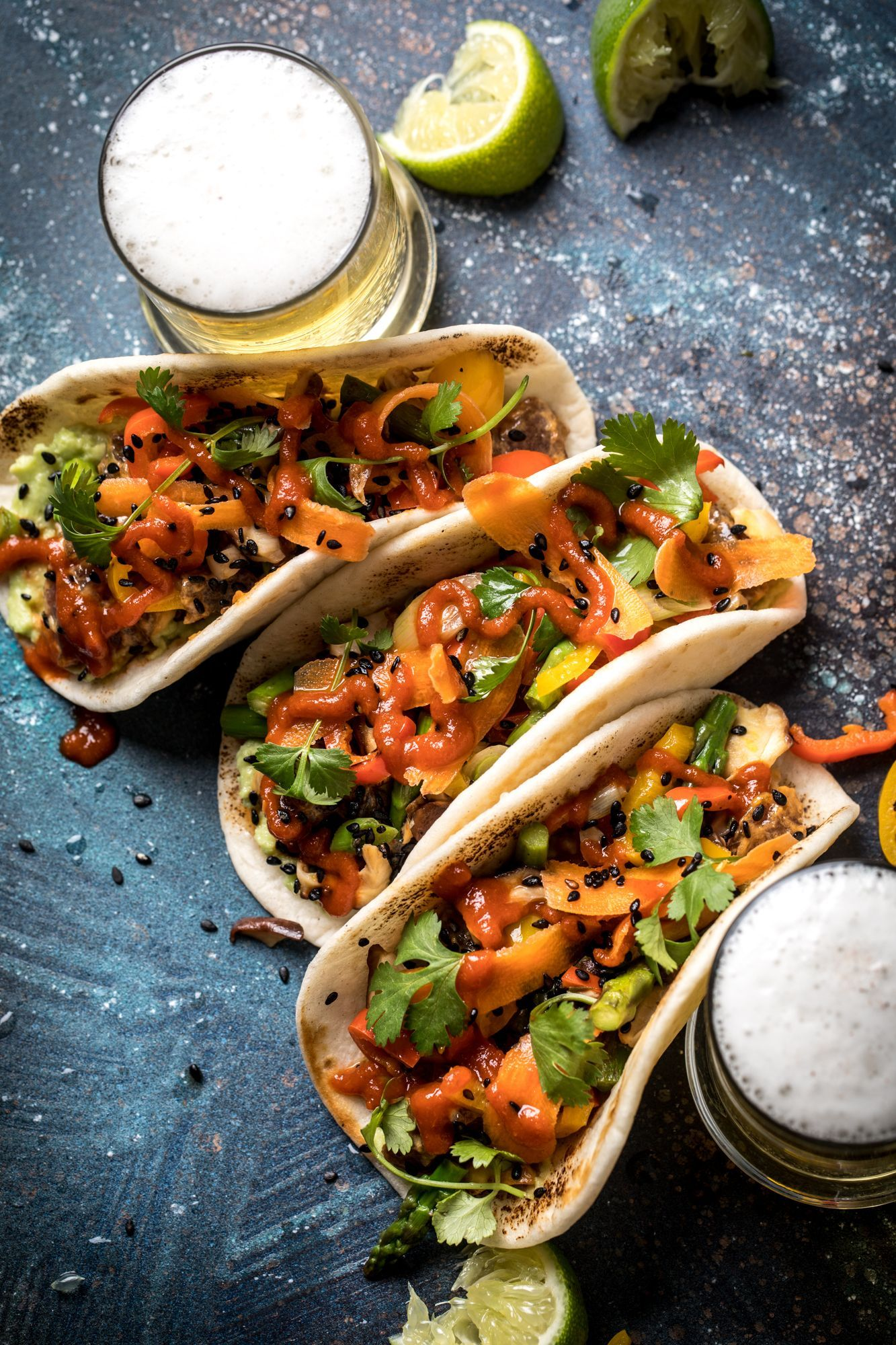 Poke Tacos with Beer - Food Photography OverheadTuna Poke Tacos with Beer - Food Photography Overhead