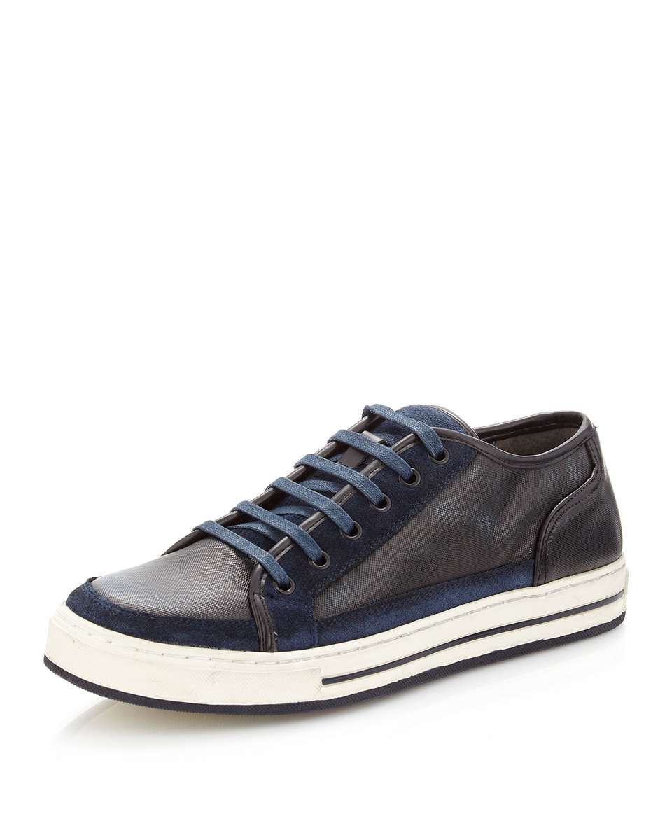 Kenneth Cole Suite Tooth Mixed-Media Sneaker, Blue
