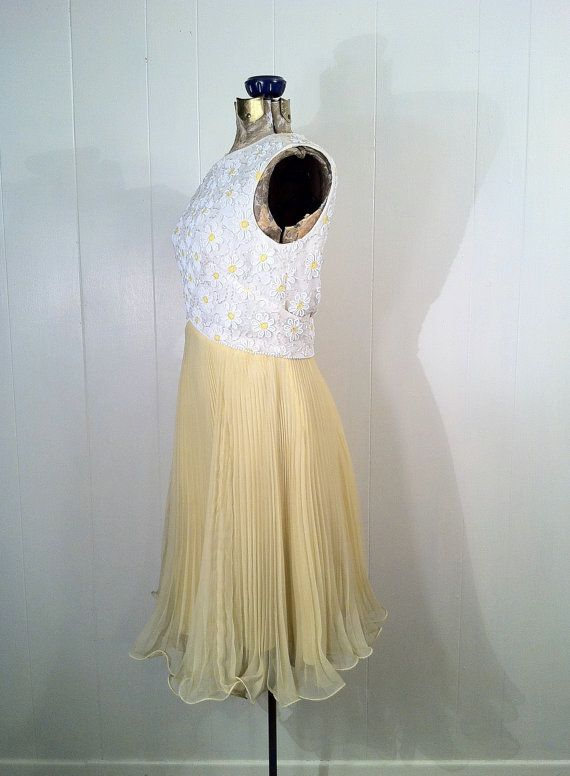 RESERVED Vintage 1960s Beaded Daisy Dress  White and by SLVintage, $49.99