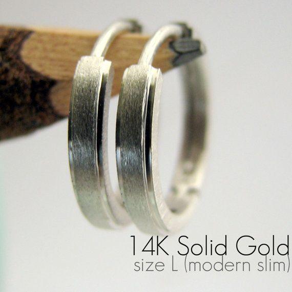 Men S Hoop Earrings 14k Gold White Large E004mw And