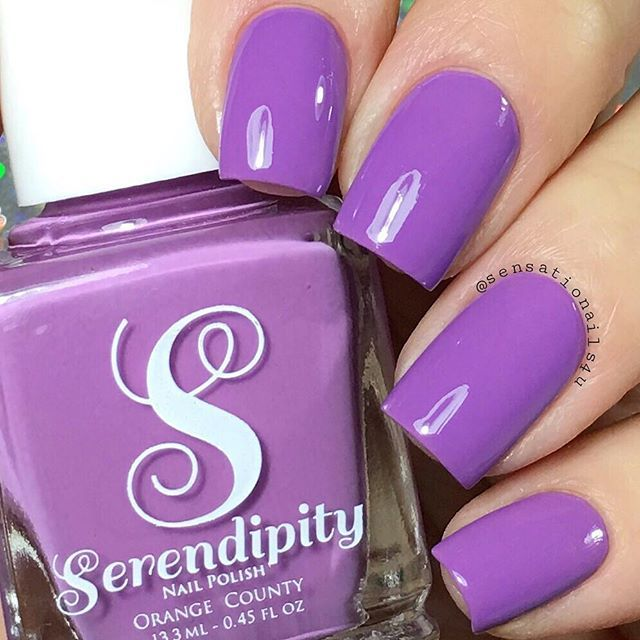 "Hello guys   I have a few swatches to share with you   @serendipitypolish is launching their new Spring/Summer Collection called ""Beach, Please!""   All polishes are very opaque at first coat.  I really love the formula and all the colors are so gorgeous    This medium purple is called ""Vacation Vibes""   You will get a free bottle of top coat using TOPCOAT code  Link to shop is in their bio"