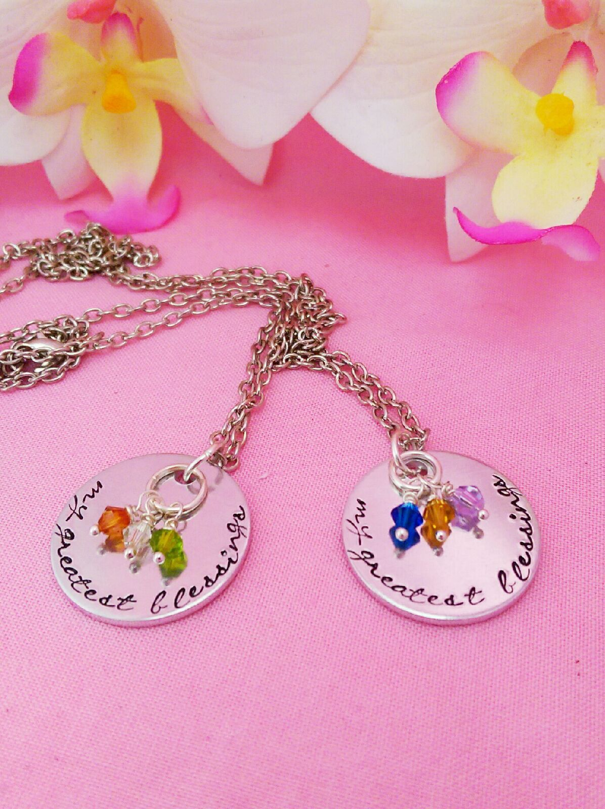 Mother's Necklace - My Greatest Blessings - Birthstone Necklace