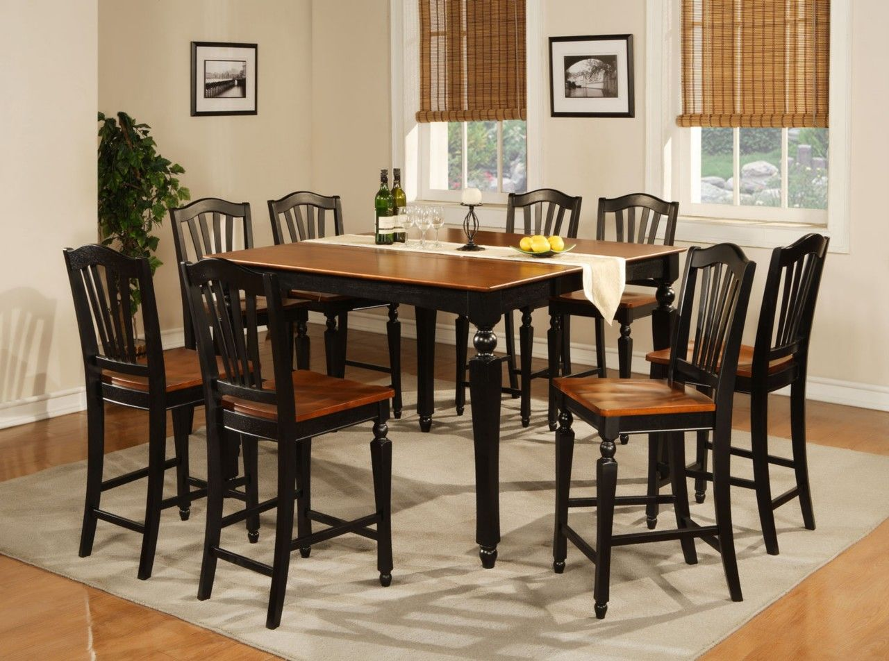 9pc Square Counter Height Dining Room Table With 8 Chair In Black Cherry Brown Bar Height Dining Table Counter Height Dining Room Tables Counter Height Kitchen Table Set