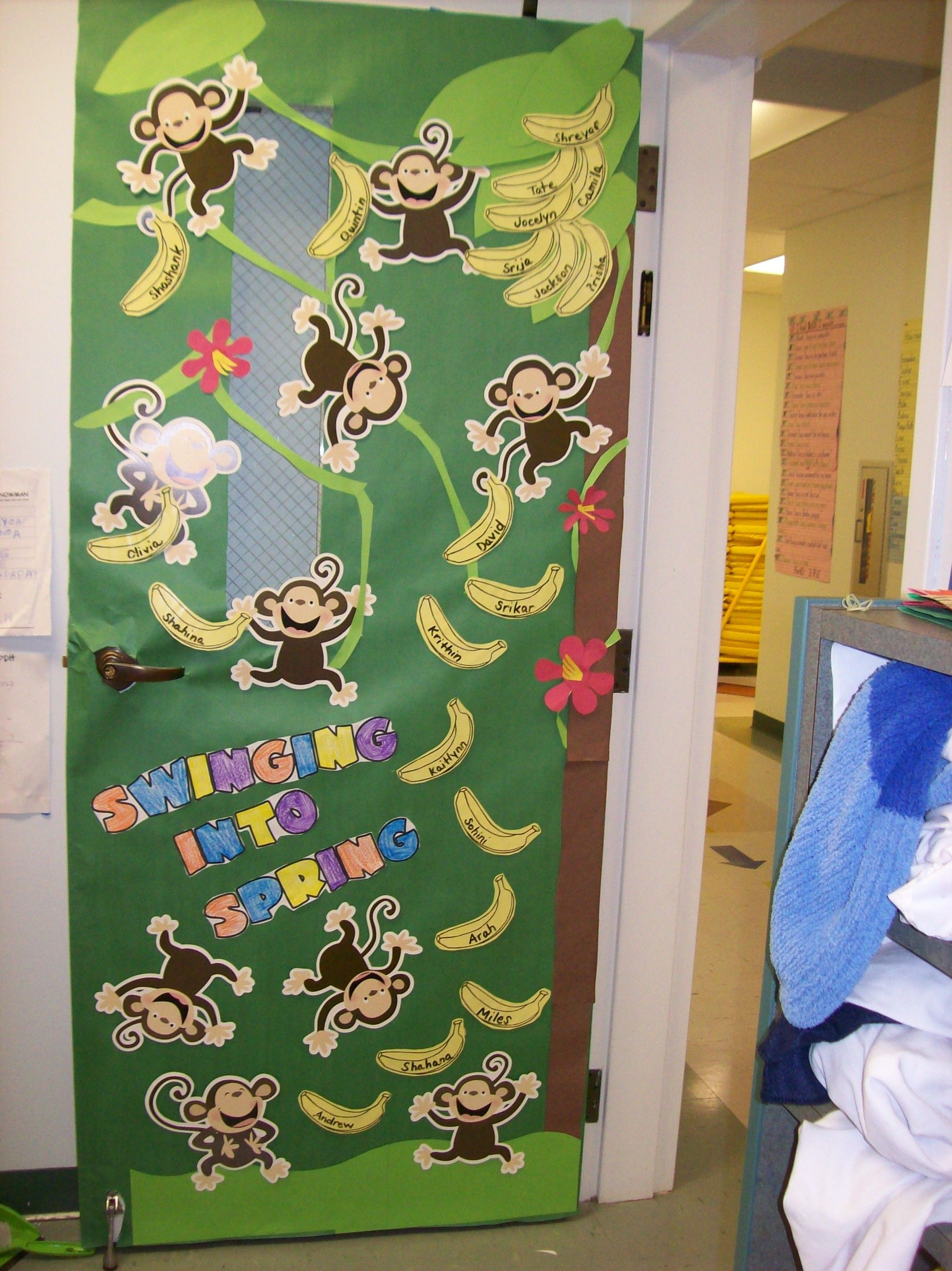 Classroom Door Decoration Spring ~ Cute monkey themed door for spring classroom ideas