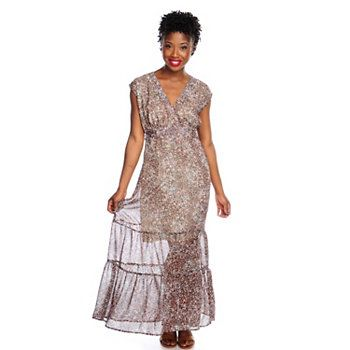 WD.NY Printed Chiffon Sleeveless Self-Belted Tiered Maxi Dress. Cute, easy to wear, love cost sweet dress. Less than $40