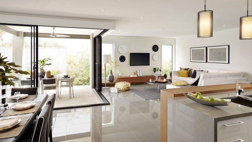 Casa de un piso moderna con hermosa fachada y dise o de for Diseno de sala comedor