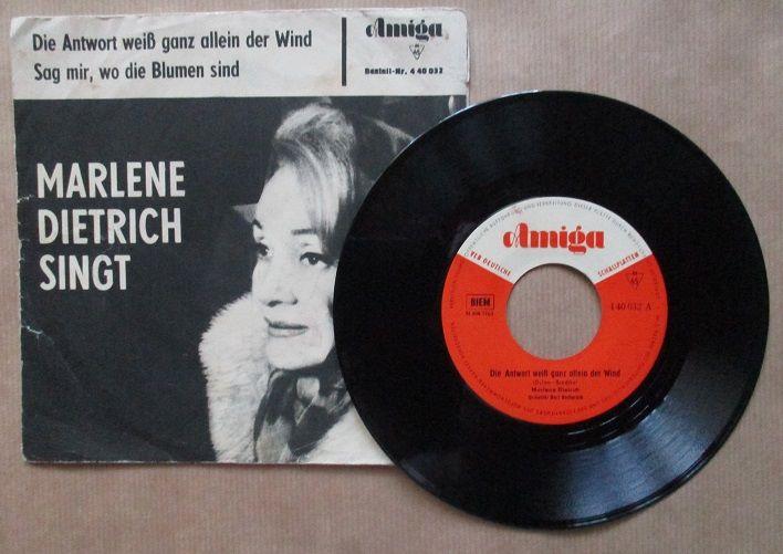 Single Marlene Dietrich Sign Die Antwort Weiss Ganz Allein Der Wind Odpowie Ci Wiatr Sag Mir Wo Die Blumen Sind Gdzie Sa Kwiaty Z Tamtych Lat