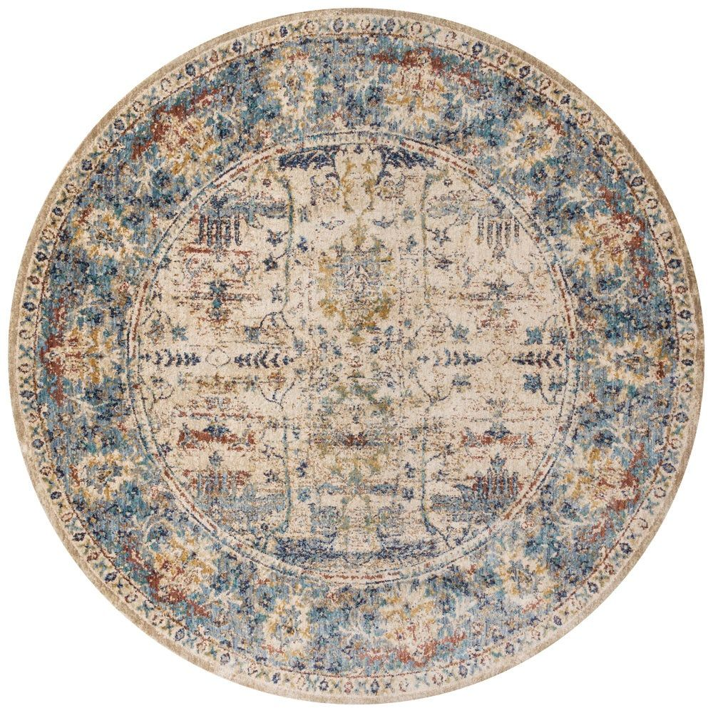 Traditional Sand Light Blue Floral Distressed Round Rug 9 6 X
