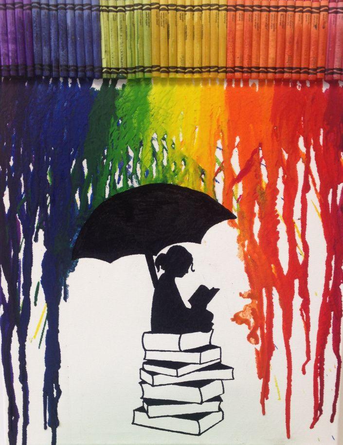 Melted Crayon Art Coole Kunst Regenbogen Zeichnung Wachsmalkunst