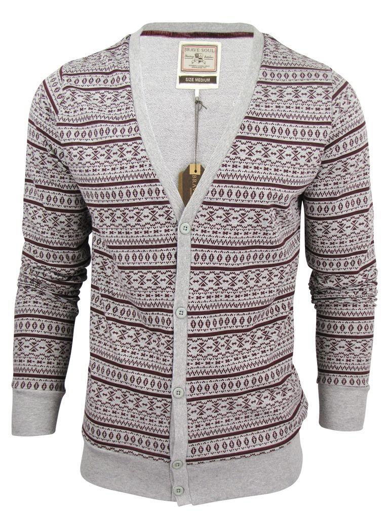 4732b8cece6 Brave Soul Aztec Nordic Men 'Eusebio' Knit Cardigan/ Jumper Button ...