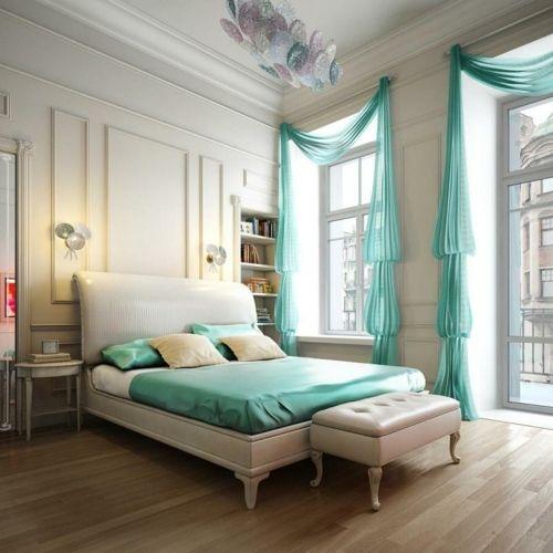 Schlafzimmer Turkis Farbe Klassisches Design Wohnungseinrichtung
