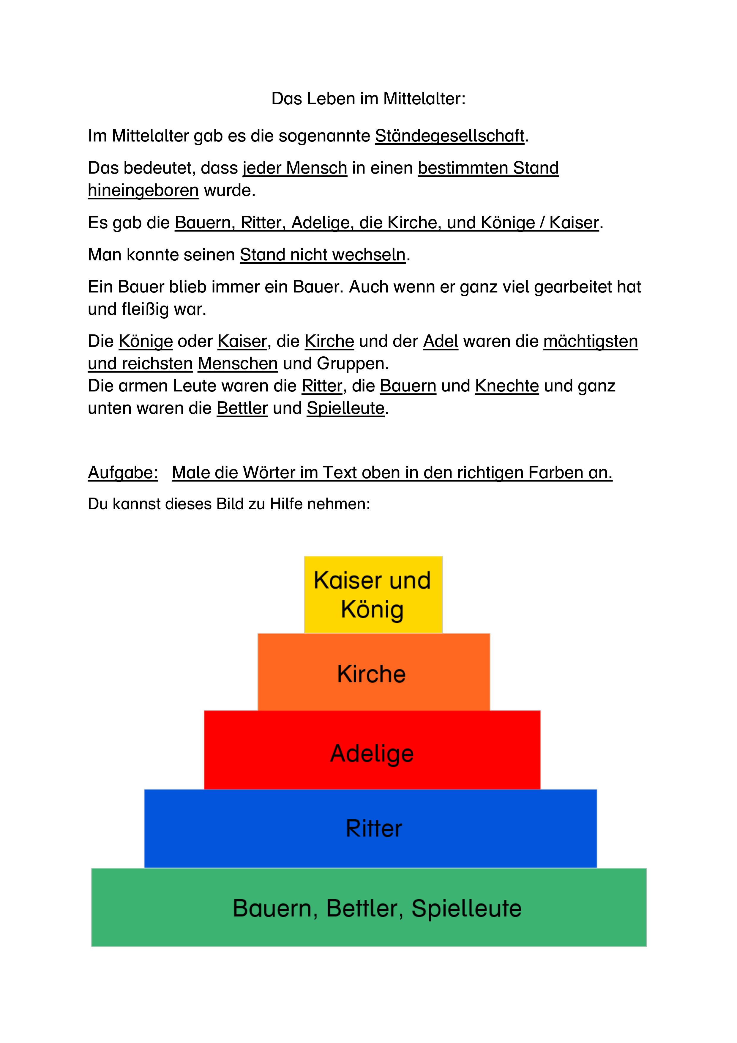 Standegesellschaft Text B Unterrichtsmaterial In Den Fachern Deutsch Sachunterricht In 2020 Kurze Texte Unterrichtsmaterial Sachunterricht Grundschule