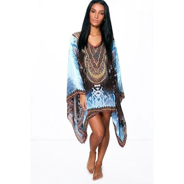 731e409a1f1e8 Boohoo Evie Snake Print And Diamante Beach Cover Up ($30) ❤ liked on  Polyvore featuring swimwear, cover-ups, blue, crochet beach cover-ups,  triangle bikini ...