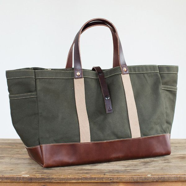175L Garden / Tool Tote In Olive Twill And Horween Leather. Handmade In