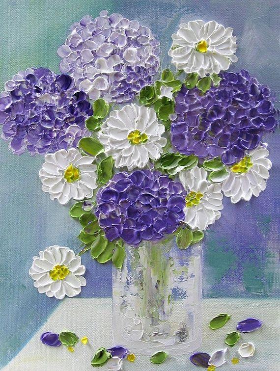 Original Oil Impasto Painting Lavender Hydrangeas And Daisies In A Vase Purple Hydrangeas Painting Oil Painti Hydrangea Painting Impasto Painting Flower Art